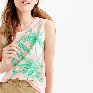 J. Crew Blush Muscle Tank Sequin Palm Trees Size M